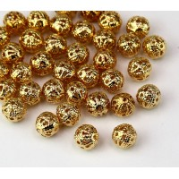 6mm Round Premium Filigree Beads, Gold Plated