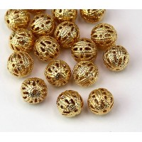 8mm Round Premium Filigree Beads, Gold Plated
