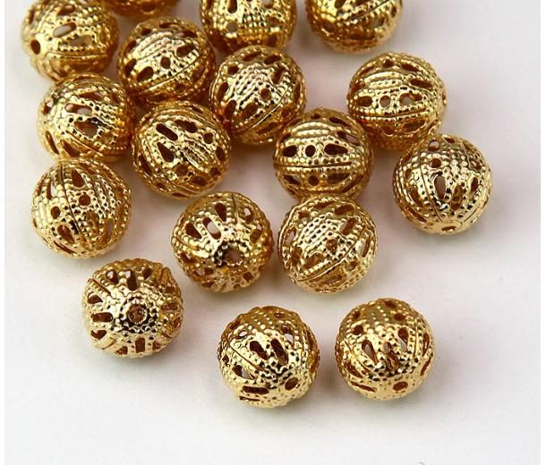 8mm Round Premium Filigree Beads, Gold Plated