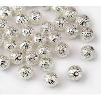 6mm Round Premium Filigree Beads, Silver Plated