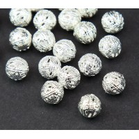 8mm Round Premium Filigree Beads, Silver Plated