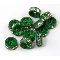 Crystal Dark Green Enamel Rhinestone Rondelle Beads, Straight Edge, 8x4mm