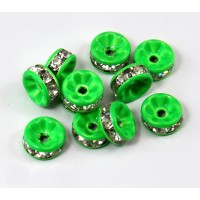 Crystal Light Green Enamel Rhinestone Rondelle Beads, Straight Edge, 8x4mm