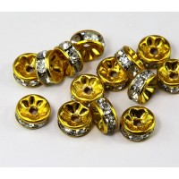 Crystal Yellow Enamel Rhinestone Rondelle Beads, Straight Edge, 8x4mm, Pack of 10
