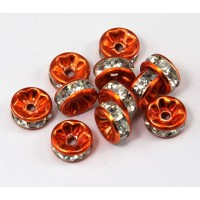 Crystal Orange Enamel Rhinestone Rondelle Beads, Straight Edge, 8x4mm, Pack of 10