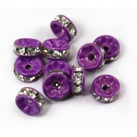 Crystal Purple Enamel Rhinestone Rondelle Beads, Straight Edge, 8x4mm