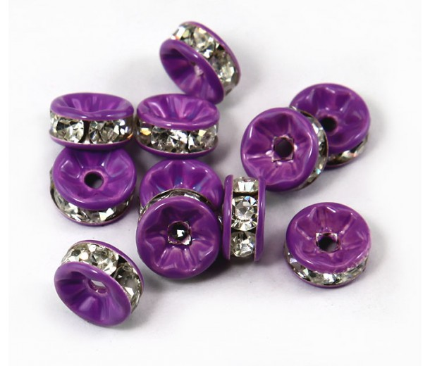 Crystal Purple Enamel Rhinestone Beads, Straight Edge, 8x4mm, Pack of 10