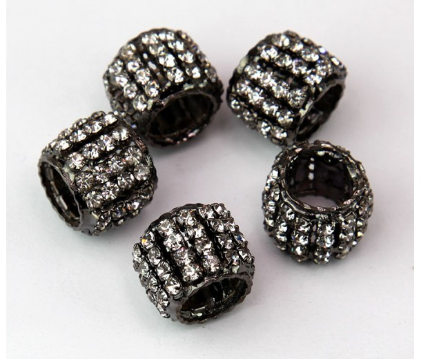 Crystal Black Finish Rhinestone Beads, 10x13mm Tube