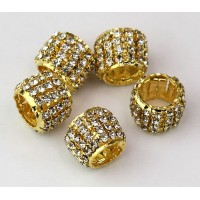 Crystal Gold Tone Rhinestone Beads, 10x13mm Tube