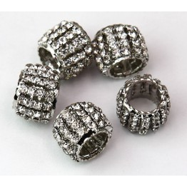 Crystal Rhodium Finish Rhinestone Beads, 10x13mm Tube