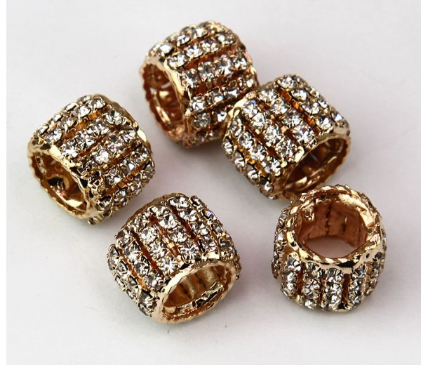 Crystal Rose Gold Tone Rhinestone Beads, 10x13mm Tube