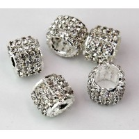 Crystal Silver Tone Rhinestone Beads, 10x13mm Tube