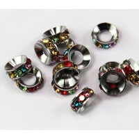 Multicolor Rhodium Rhinestone Rondelle Beads, 8mm, Pack of 10