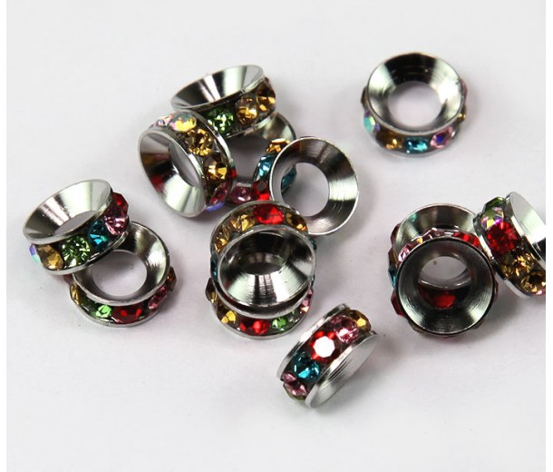 Multicolor Rhodium Rhinestone Rondelle Beads, 8mm