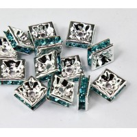 Light Blue Silver Tone Rhinestone Rondelle Beads, Square, 8x4mm