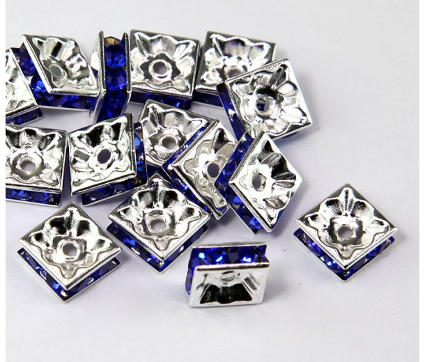 Cobalt Blue Silver Tone Rhinestone Rondelle Beads, Square, 8x4mm
