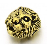 12mm Lion Head Focal Beads, Antique Gold, Pack of 5