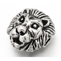 12mm Lion Head Focal Beads, Antique Silver