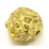 12mm Lion Head Focal Beads, Gold Tone