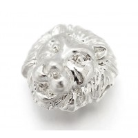 12mm Lion Head Focal Beads, Silver Tone
