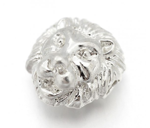 12mm Lion Head Focal Beads, Silver Tone, Pack of 5