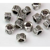 8mm Spiral Wave Barrel Beads, Antique Silver, Pack of 10
