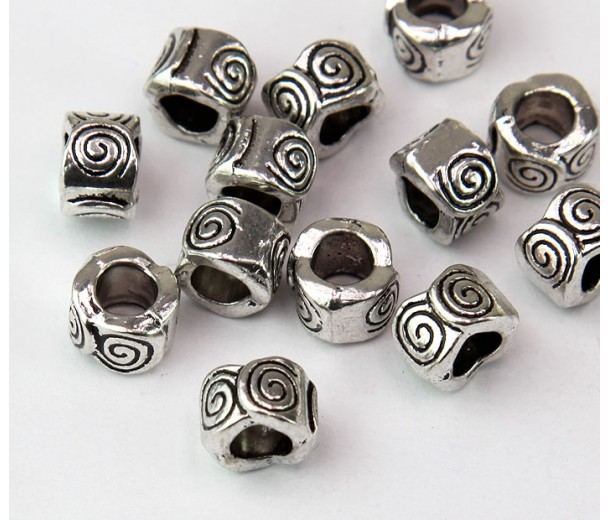 8mm Spiral Wave Barrel Beads, Antique Silver