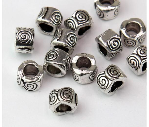 8mm Spiral Wave Barrel Beads, Antique Silver, Pack of 10