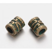 12mm Large Hole Ornate Tube Beads, Green Patina