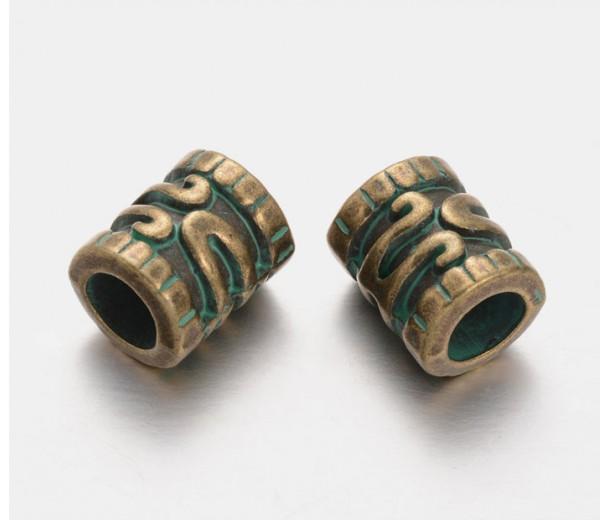 12mm Large Hole Ornate Tube Beads, Green Patina