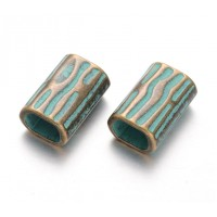 21mm Large Hole Rectangular Tube Beads, Green Patina