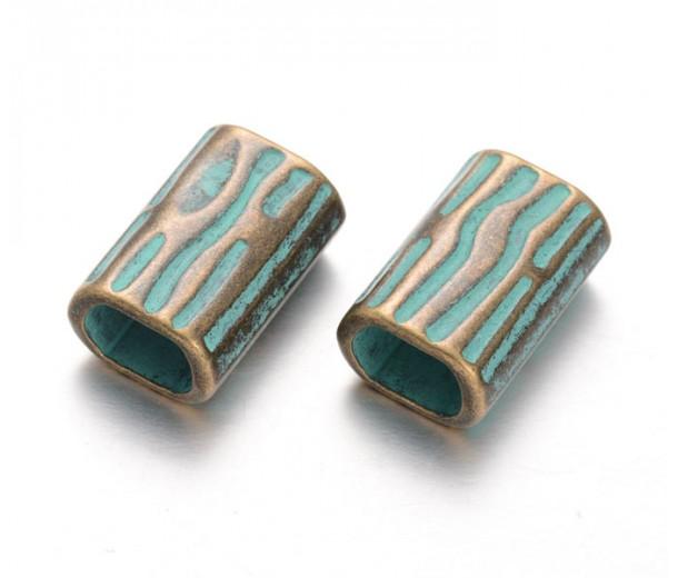 21mm Large Hole Rectangular Tube Beads, Green Patina