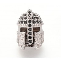 15mm Greek Helmet Cubic Zirconia Focal Beads, Rhodium