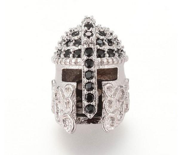 15mm Greek Helmet Cubic Zirconia Focal Beads, Rhodium