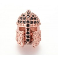 15mm Greek Helmet Cubic Zirconia Focal Beads, Rose Gold Tone