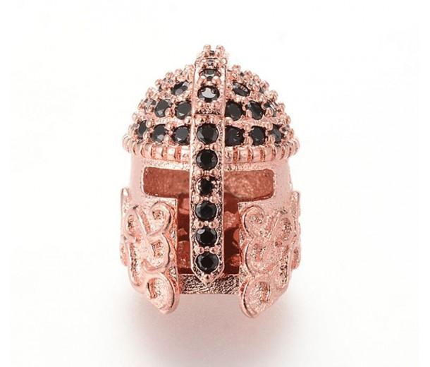 15mm Greek Helmet Cubic Zirconia Focal Beads, Rose Gold Tone
