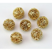 Crystal Gold Tone Cubic Zirconia Beads, 10mm Filigree Round