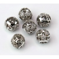 Cutout Stars Cubic Zirconia Beads, Rhodium Plated, 10mm Round