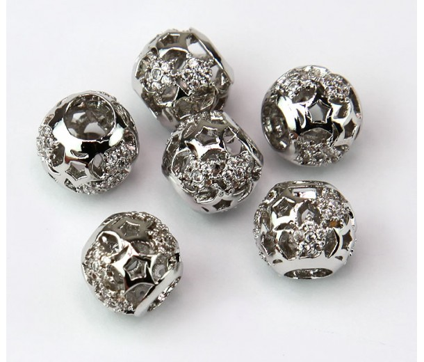 Cutout Stars Cubic Zirconia Bead, Rhodium Plated, 10mm Round