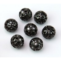 Floral Cap Cubic Zirconia Beads, Black, 10mm Round