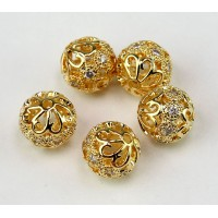 Floral Cap Cubic Zirconia Beads, Gold Tone, 10mm Round, 1 Piece