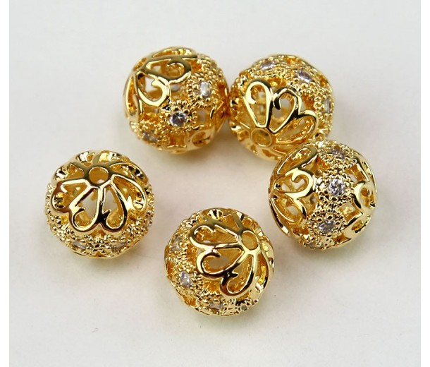 Floral Cap Cubic Zirconia Beads, Gold Tone, 10mm Round