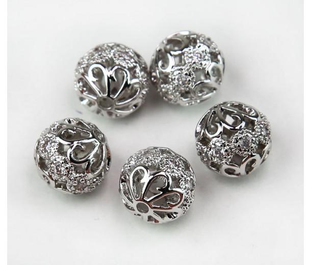 Floral Cap Cubic Zirconia Bead, Rhodium Plated, 10mm Round, 1 Piece