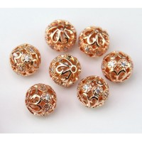 Floral Cap Cubic Zirconia Beads, Rose Gold Tone, 10mm Round