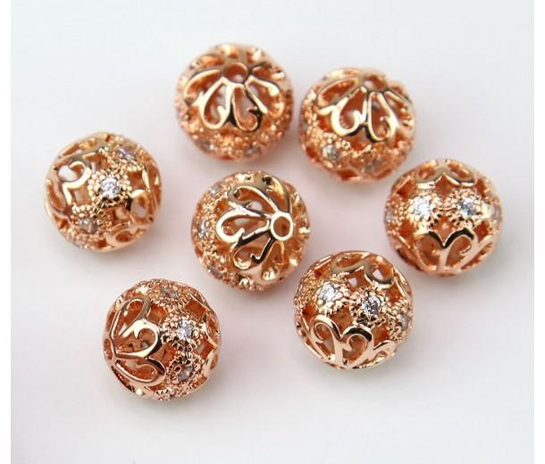 Floral Cap Cubic Zirconia Bead, Rose Gold Tone, 10mm Round, 1 Piece