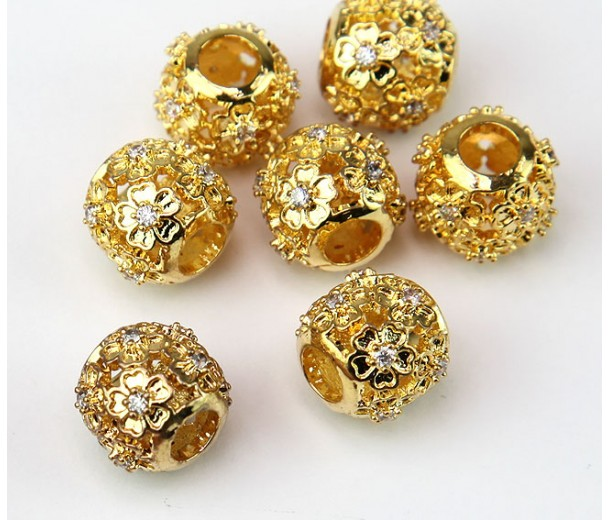 Cutout Floral Cubic Zirconia Beads, Gold Tone, 10mm Round