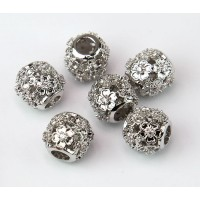 Cutout Floral Cubic Zirconia Bead, Rhodium Plated, 10mm Round