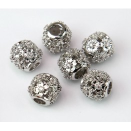 Cutout Floral Cubic Zirconia Beads, Rhodium Plated, 10mm Round