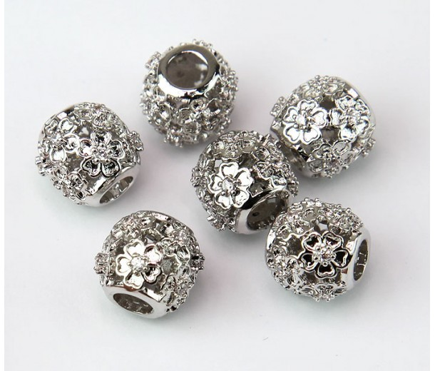 Cutout Floral Cubic Zirconia Beads, Rhodium Plated, 10mm Round, 1 Piece