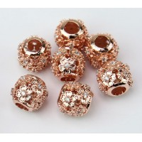 Cutout Floral Cubic Zirconia Beads, Rose Gold Tone, 10mm Round